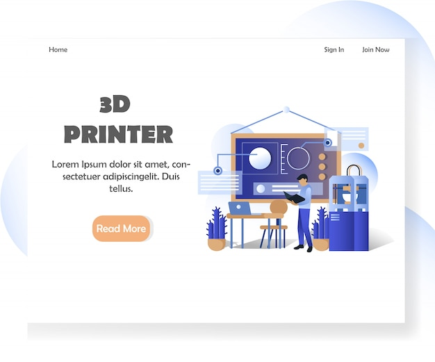3d printer website landing page template