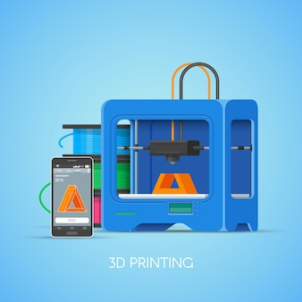 3d printing concept poster in flat style. design elements and icons. industrial 3d printer print objects from smartphone.