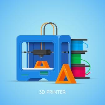 플랫 스타일의 3d 인쇄 개념 포스터. 디자인 요소와 아이콘. 산업용 3d 프린터.