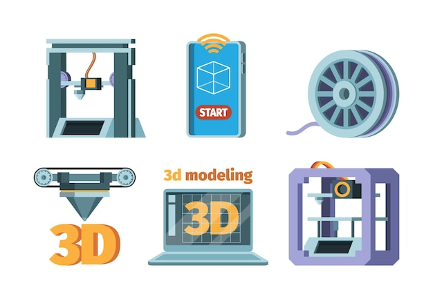 3d printing icon. dimensional printer prototypes future technology smart print technics vector flat pictures. illustration equipment construction, dimensional prototype manufacturing