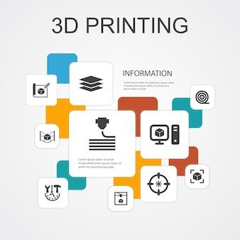 Шаблон значков инфографики 10 линий 3d-печати. 3d принтер, нить, прототипирование, подготовка модели простые значки