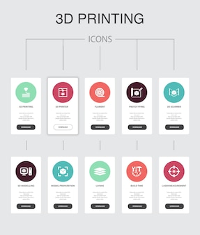 3dプリントインフォグラフィック10ステップuiデザイン。3dプリンター、フィラメント、プロトタイピング、モデル準備シンプルなアイコン