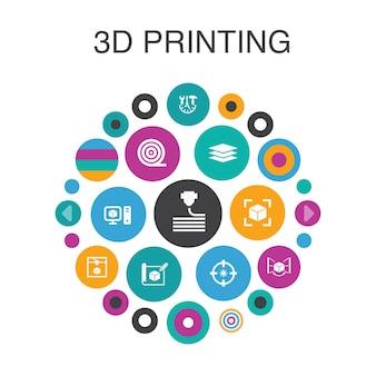 3d-печать инфографика круг концепции. smart ui elements 3d-принтер, нить, прототипирование, подготовка модели