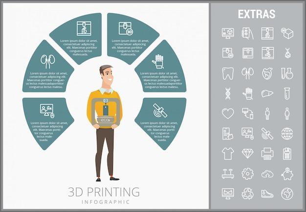 3 d印刷インフォグラフィックテンプレートとアイコンセット