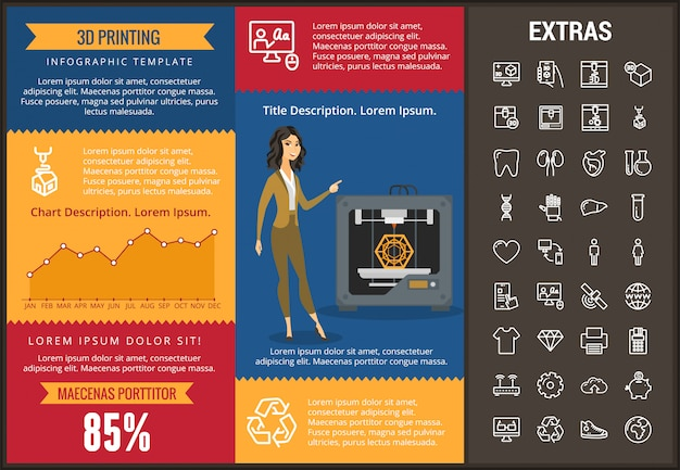 3d printing infographic template and elements.