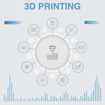 3d 인쇄 infographic 아이콘입니다. 3d 프린터, 필라멘트, 프로토타이핑, 모델 준비와 같은 아이콘이 포함되어 있습니다.