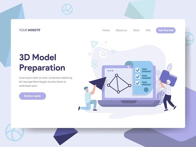 웹 페이지를위한 3d 프린팅 모델 일러스트레이션