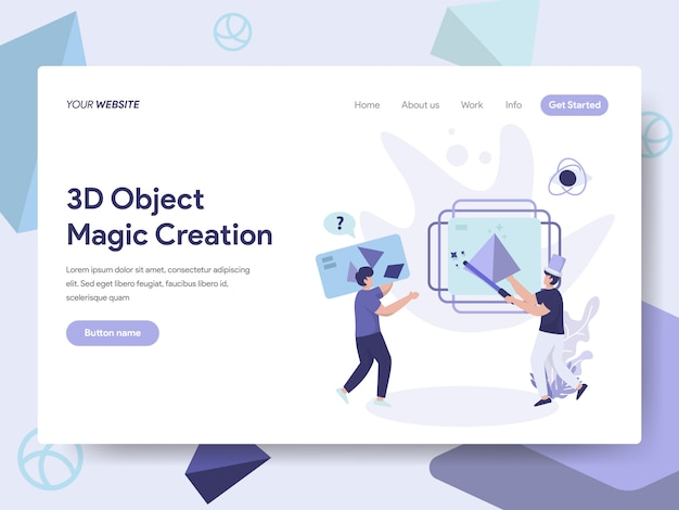 3d printing object magic creation illustration for web pages