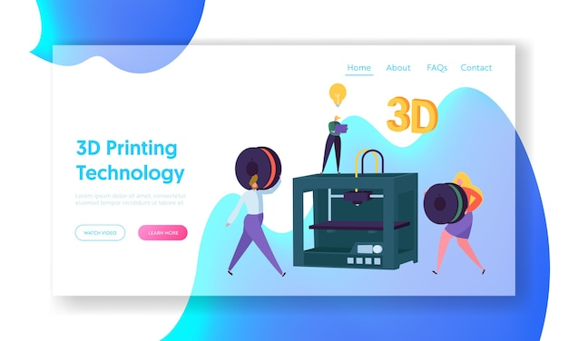 3d printing technology concept website template.