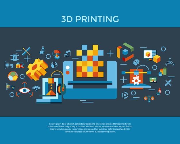 3d 인쇄 기술 아이콘 모음