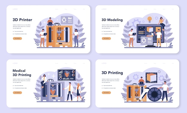 3d printing technology web banner or landing page set
