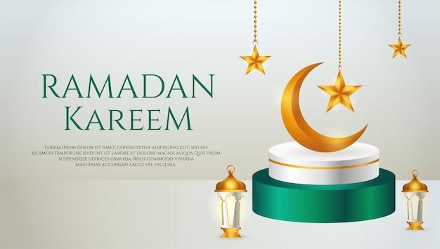 3d製品バナー、三日月、ランタン、ラマダンの星が付いた緑と白の表彰台をテーマにしたイスラム
