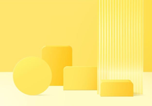 モダンな黄色いガラスの3d製品ディスプレイ背景プラットフォーム。背景ベクトル3dレンダリングクリスタル表彰台プラットフォーム。スタンドショー化粧品。台座のモダンなガラススタジオのステージショーケース
