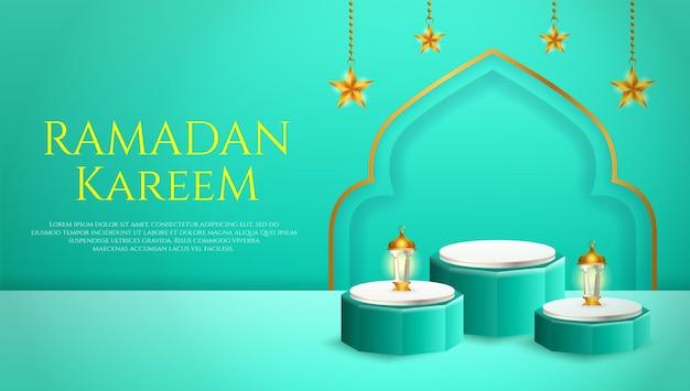 3d製品は、ラマダンのためのランタンとスターを備えた青と白の表彰台をテーマにしたイスラム教を表示します