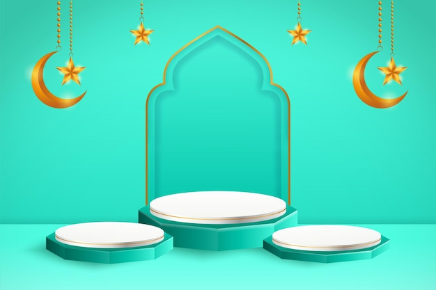 3d product display blue and white podium themed islamic with crescent moon and star for ramadan