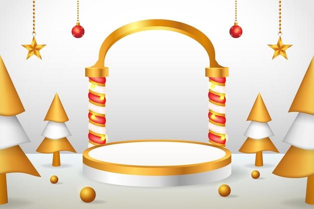 3d製品ディスプレイクリスマスと新年の表彰台ゴールド
