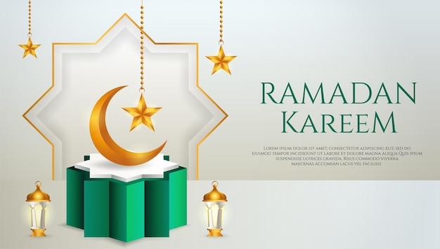3d製品は、緑と白の表彰台をテーマにしたイスラム教の三日月、ランタン、ラマダンの星を表示します