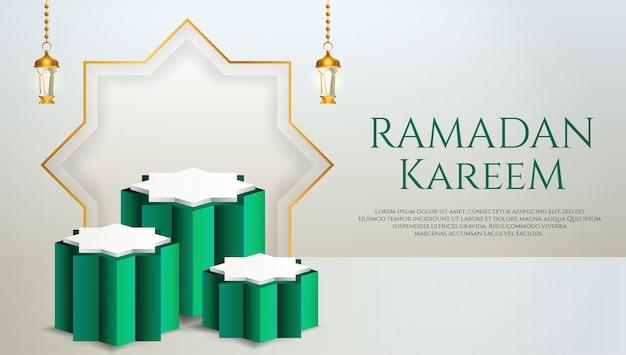3d製品は、ラマダン用のランタンを備えた緑と白の表彰台をテーマにしたイスラム教を表示します