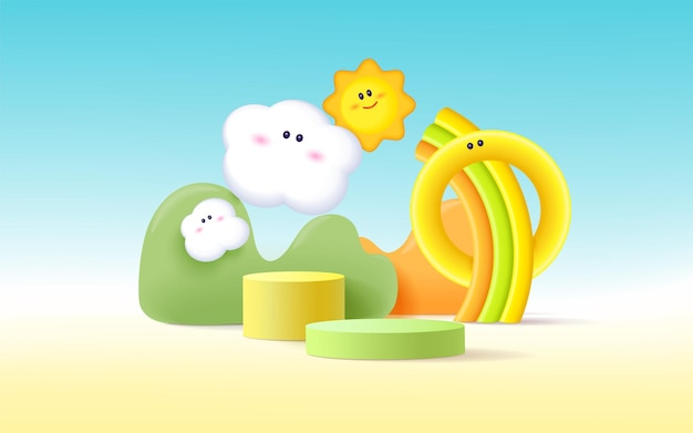 3d product podium, pastel color background, clouds, sun and weather with empty space for kids or baby product.