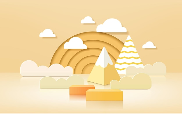 3d product podium, pastel color background, clouds, weather with empty space for kids or baby product.