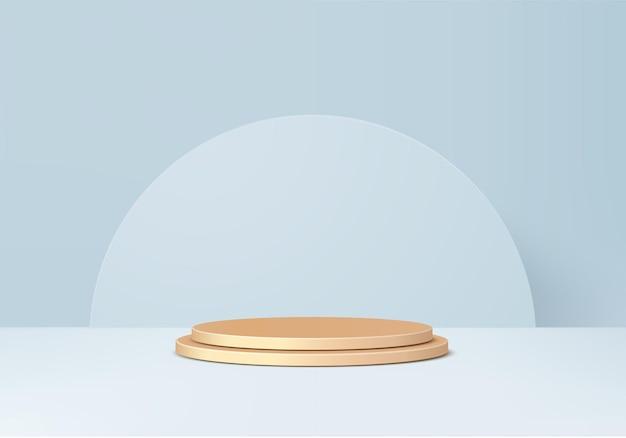 3d 제품은 기하학적 플랫폼과 함께 금 연단 장면을 표시합니다. 연단과 3d 렌더링입니다. 페데스탈 디스플레이 블루 스튜디오의 무대 쇼케이스