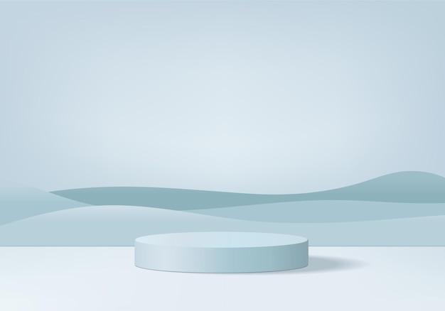 3d 제품은 기하학적 플랫폼으로 연단 장면을 표시합니다. 연단과 3d 렌더링입니다. 페데스탈 디스플레이 블루 스튜디오의 무대 쇼케이스