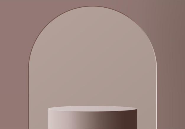3d 제품은 기하학적 플랫폼으로 연단 장면을 표시합니다. 연단과 3d 렌더링입니다. 받침대 디스플레이 브라운에 무대 쇼케이스
