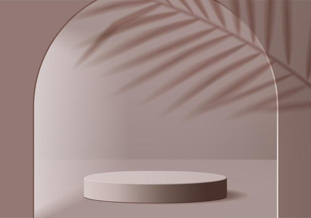 3d製品は、幾何学的なプラットフォームで表彰台のシーンを表示します。表彰台での3dレンダリング。台座ディスプレイブラウンのステージショーケース