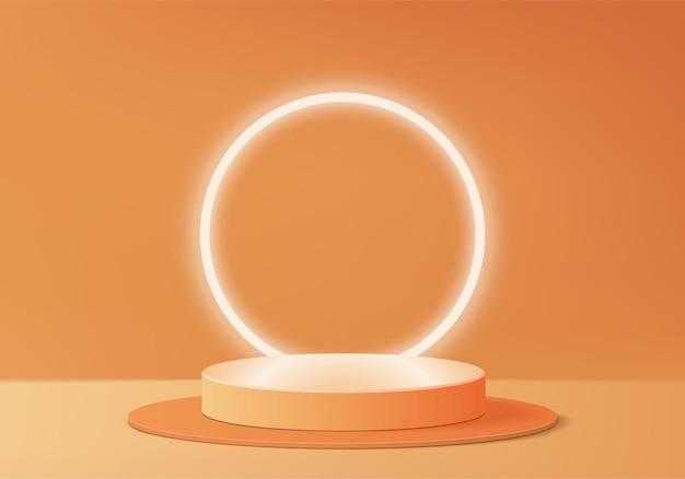 3d製品は、幾何学的なプラットフォームで表彰台のシーンを表示します。表彰台での3dレンダリング。オレンジ色の台座ディスプレイのステージショーケース