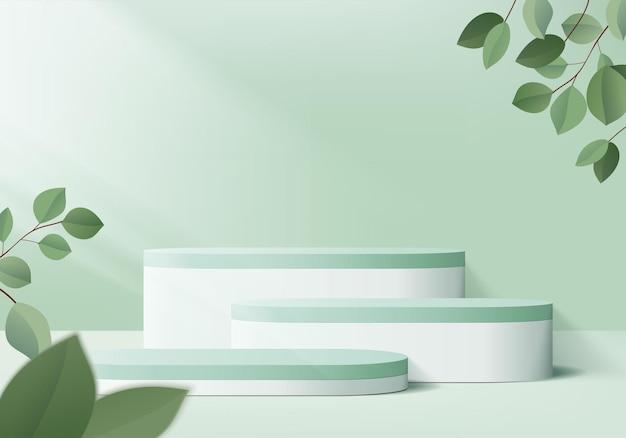 3d製品は、幾何学的なプラットフォームで表彰台のシーンを表示します。