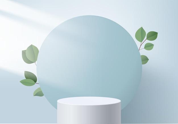 3d 제품은 녹색 잎 기하학적 플랫폼으로 연단 장면을 표시합니다. 연단으로 3d 렌더링입니다. 페데스탈 디스플레이 블루 스튜디오의 무대 쇼케이스