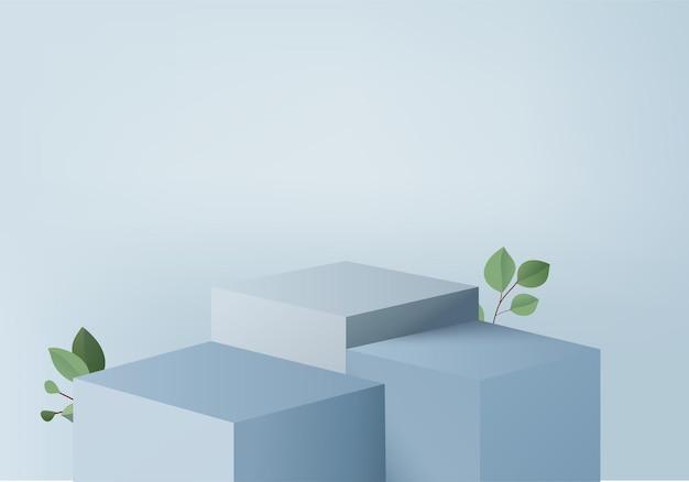 3d製品は、緑の葉の幾何学的なプラットフォームで表彰台のシーンを表示します。表彰台付きの3dレンダリング。台座ディスプレイブルースタジオのステージショーケース