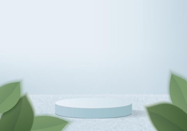 3d製品は、緑の葉の幾何学的なプラットフォームで表彰台のシーンを表示します。表彰台付きの3dレンダリング。ペデスタルディスプレイブルーのステージショーケース