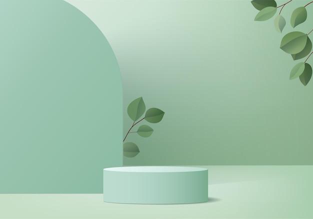 3d製品は、緑の葉の幾何学的なプラットフォームで表彰台のシーンを表示します表彰台スタンドで3dレンダリング