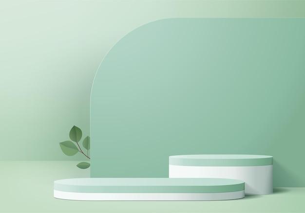 3d 제품 디스플레이 녹색 잎 기하학적 플랫폼과 연단 장면