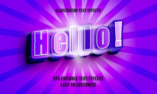 3d 보라색과 파란색 필기체 스타일 편집 가능한 텍스트 효과 스타일