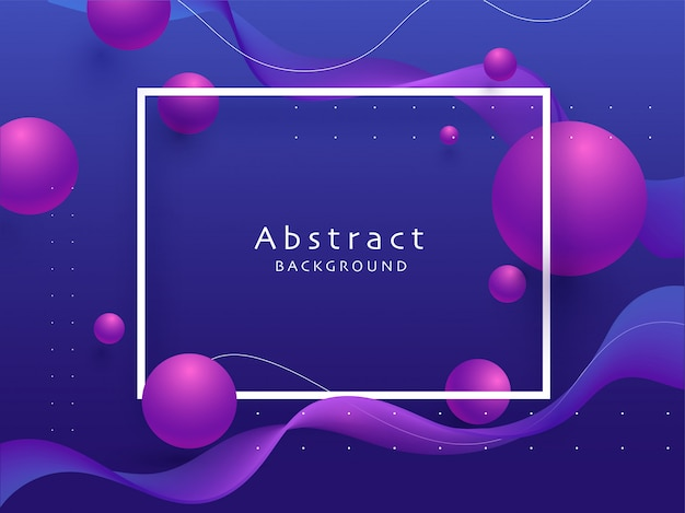 3d purple sphere's decorated on blue abstract waves background.