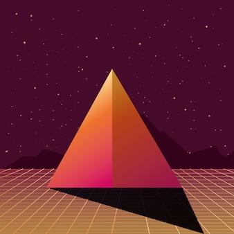 3d pyramid grid dark stars background