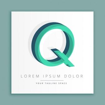 3d абстрактные логотип стиль с буквой q