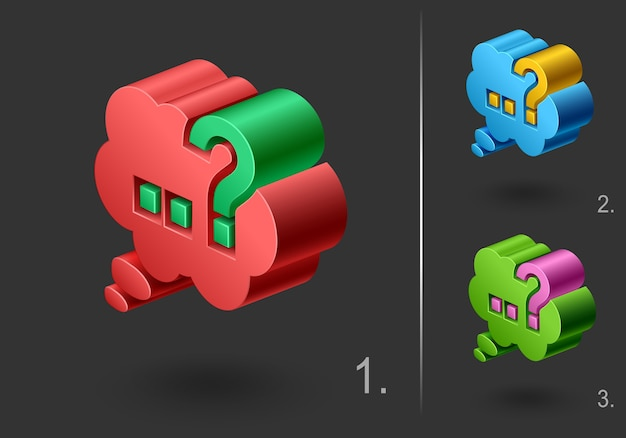 3d question mark icon, set web element design,