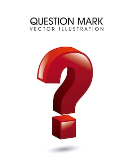 3d question mark over white background vector illustration