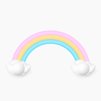 3d rainbow with cloud isolated on white background Premium Vector