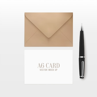 3d realistic a6 envelope greeting card with pen.