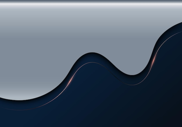 3d realistic abstract luxury template wave shape and pink gold line with lighting on blue metallic background. vector illustration