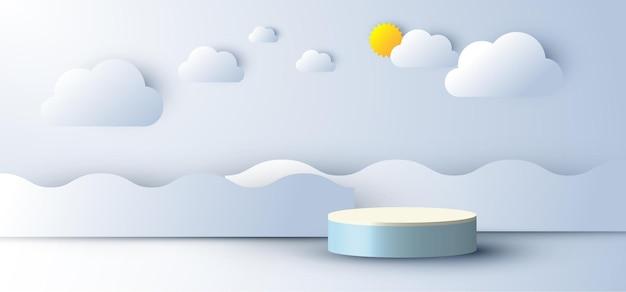 雲と太陽、青い空の背景に波の海の紙のカットスタイルで3dリアルな抽象的な最小限のシーンの空の表彰台のディスプレイ。製品のプレゼンテーション、モックアップなどのデザイン。ベクトルイラスト
