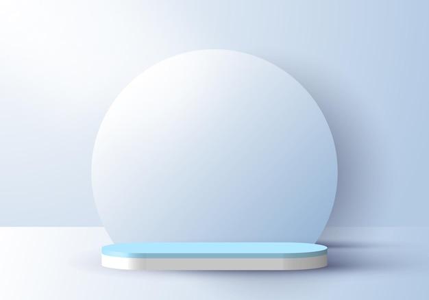 円の背景と照明の柔らかい青の背景を持つ3d現実的な抽象的な最小限のシーン空の表彰台のスタジオルーム。製品のプレゼンテーション、モックアップなどのデザイン。ベクトルイラスト