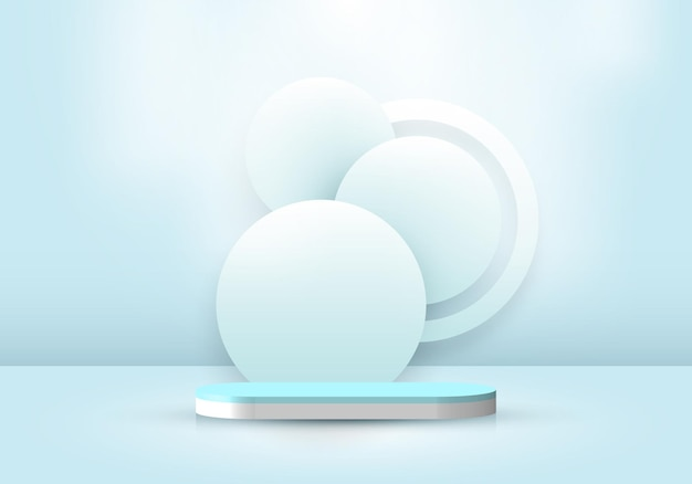 3d realistic abstract minimal scene empty podium studio room with circle backdrop and lighting soft blue background. design for product presentation, mockup, etc. vector illustration