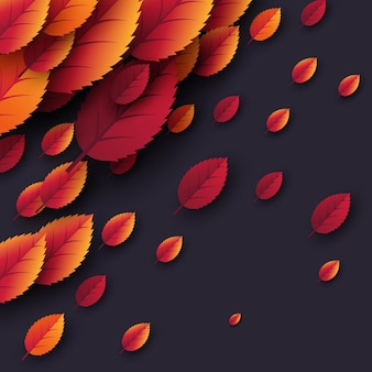 3d realistic autumn fall leaves. autumnal background in dark colors. design for web, print, wallpaper, vector illustration.