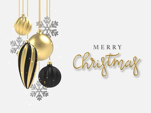 3d realistic background gold and black christmas ball, black snowflake in on white background. ð¡alligraphy lettering greeting card.
