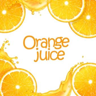 スライスしたジューシーオレンジとスプラッシュジュースで作られた3 dのリアルな背景。編集可能な手作りメッシュ